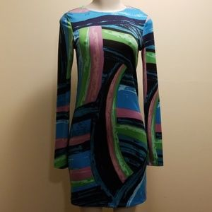 Julie Brown Multi Color Long Sleeve Dress-S